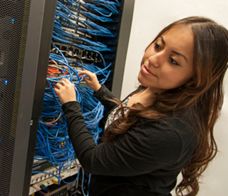 Female student at server mobile image